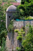 Corsica. France. Europe. Midieval guard tower. Oldest part of wall around old village of Sartene.