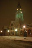 The Historic Union Pacific Railroad Depot in a Blizzard
