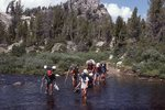 Young Backpackers Fording Lower Pole Creek in the Wind River Range
