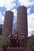 Marina City (1968)  and the Heald Square Monument (by Loredo Taft and Leonard Crunelle, 1941)
