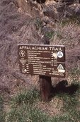 An Appalachian Trail Sign in the Pigeon River Gorge