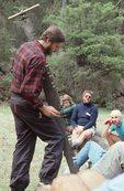 Explaining a Crosscut Saw to Sierra Club Trail Volunteers