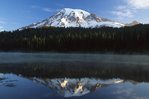 Mount Rainier and the Reflection Lakes at Sunrise