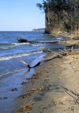 Potomac River shoreline with beach and cliffs