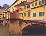 Ponte Vecchio's green shuttered shop windows - over the Arno River, Florence
