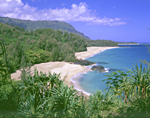 Kauai, Hawaii: Secluded Lumahai Beach with its long white sand beach and blue waters stretches along the north shore of Kauai