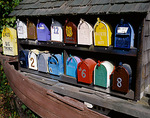 Multi-colored mailboxes - for Lake Union houseboats