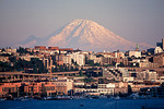 Mount Rainier above Lake Union and Capitol Hill neighborhood 