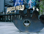 Safeco Field, home of the Seattle Mariners.  Street view of the left field gate