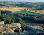 Wisconsin River Valley at fall harvest time from the cliff edge of Gibraltar Rock State Natural Area