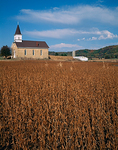 Our Lady of Loretto country church surrounded by a dried field of soy beans with the distant fall colored Baraboo Hills  