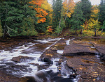 Presque Isle River and leaf covered sculpted shale above Manido Falls in autumn