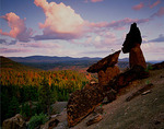 Balanced rock formations above Metolius River canyon - at dawn