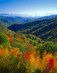 Fall colored folded hills of Shot Beech Ridge with distant haze over the Deep Creek Valley