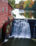 Dells Mill (1864) waterwheel and mill pond reflections in Eau Claire County, WI