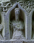 Detail stone carving of one of the apostles on a tomb in the church of Jerpoint Cistercian Abbey (11th-15th centuries)in County Kilkenny, Ireland