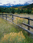 Weathered fence running thru East Dallas Creek valley with the distant peaks of the San Juan Range in Uncompahgre National Forest, CO