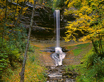 Munising Falls and fall colored trees in Pictured Rocks National Lakeshore, MI