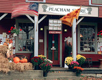 Peacham, VT: Peacham Store with fall decorations; Caledonia County