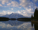 Banff National Park, Alberta, Canada: Morning clouds over Mount Rundle with reflections on Two Jack Lake
