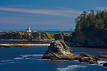 Sunset Bay State Park, OR: Cape Arago Light on the headlands of the Oregon coast, Coos County