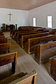 Great Smoky Mountains National Park, TN/NC: Methodist church interior with wood pews in Cades Cove