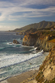 Monterey County, CA: View of Rocky Point on the Big Sur coastline with distant headlands and surf, Cabrillo Highway
