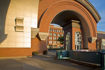 Tacoma, WA: Arched brick entry and plaza of the Washington State History Museum