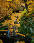 Starved Rock State Park, IL: Little falls in sandstone grotto with fall colored forest above Kaskaskia canyon