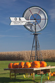 Bureau County, IL: Fall scene of pumpkins, windmill and distant red barn under a blue sky, Miller's produce stand