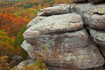 Shawnee National Forest, IL: Dramatic sandstone formations above the autumn forest canopy- Garden of the Gods Recreation Area