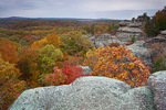 Shawnee National Forest, IL: Dramatic sandstone formations above the autumn forest canopy - on the Observation Trail, Garden of the Gods Recreation Area