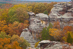 "Shawnee National Forest, IL: ""Camel Rock"" a sandstone formation above the autumn forest canopy- Observation Trail, Garden of the Gods Recreation Area"