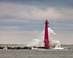 Muskegon, Michigan: Muskegon Breakwater Light pounded by waves under stormy skies, Lake Michingan