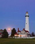 Racine County, Wisconsin: Wind Point Lighthouse (1880) with moonrise at dusk, Lake Michigan