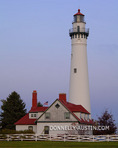 Racine County, Wisconsin: Wind Point Lighthouse (1880) at dusk, Lake Michigan