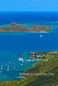 Virgin Gorda, British Virgin Islands, Caribbean: Elevated view of the turquoise North Sound and  Leverick Bay from Fanny hill on the north end of Virgin Gorda