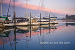 Vashon Island, Washington: Boats and reflections in Quartermaster Harbor at dusk