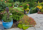 Vashon-Maury Island, WA: Terraced perennial garden with flagstone patio