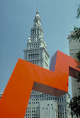 Tower City Center or Terminal Tower Building with sculpture in foreground. Cleveland, Ohio,