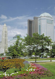 Daytime view of Columbus, Ohio taken from Bicentennial Park.