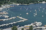 Aerial view showing boats at Put-In-Bay at South Bass Island on Lake Erie. Vacation destination called the Islands.