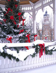 Winter view with holiday decorations of Geauga County Courthouse. Photo taken through the gazebo on the town square of Chardon, Ohio.