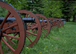 Cannons on a battlefield at Valley Forge National Histroical Park.