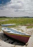 Old boat by the water on New England coast.