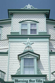Close up of Victorian home in Cape May New Jersey.