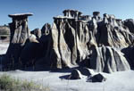 Unusual rock formations in Theodore Roosevelt National Park South Unit.