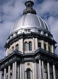 Springfield, Illinois statehouse building with dome.