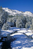 High Sierra Nevada mountains in the winter.