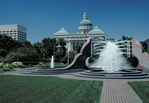 Gardens and fountains around the State Capital building in Indianapolis